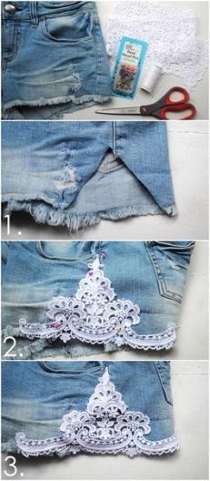 Shorts com detalhe em renda